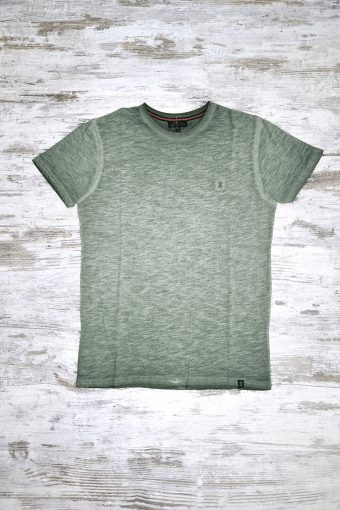 A19MT029   0053 T-SHIRT GD BASIC SHORT SLEEVES - 100% SLUB JERSEY CO COLD DYED Army Green - Beetle