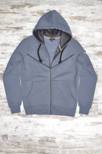 A19MF003   0237 FLEECE ZIP BASIC - 80%CO 20%PL Dark Blue Melange