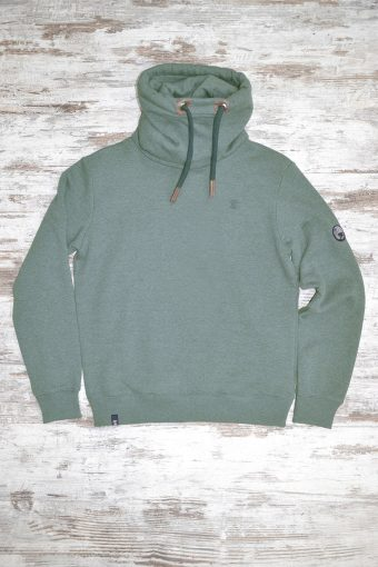 A19MF012NW 5337 FLEECE ROLL-NECK WITHOUT WINDSTOPPER - 80%CO 20%PL Army Green Menlange