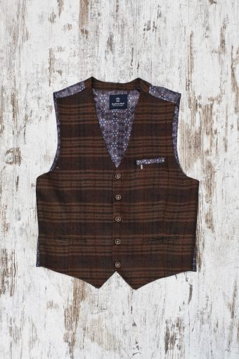 A19MG024   0043 GILET CROCUS CHECK - 49%CO 5%WL 7%PAN 16%PES 23%VI Brown Sugar