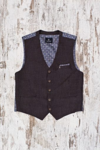 A19MG026   0040 GILET LARDINES - 60%CO 8%WL 13%PES 19%VI Brown - Coffee