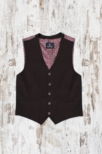 A19MG029   0040 GILET GABARDIN - 97%CO 3%EA Brown - Coffee
