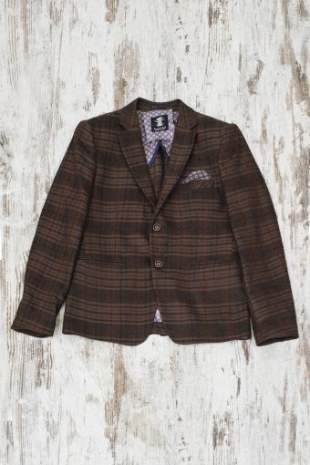 A19MJ024   0040 BLAZER CROCUS CHECK - 49%CO 5%WL 7%PAN 16%PES 23%VI Brown - Coffee