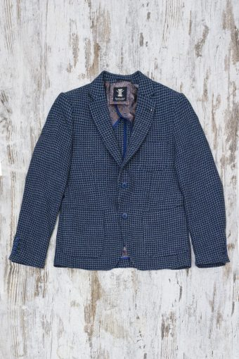 A19MJ025   0002 BLAZER BERNARDO CHECK - 44%CO 12%PAN 28%VI 5%WO 11%PES Dark Blue