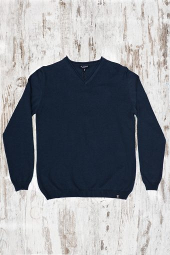 A19MM006   0002 SWEATER V-NECK SPECIAL - 70%CO 15%PA 10%WO 5%SE Dark Blue