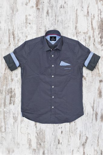A19MS007   0001 SHIRT PRINT - 97%CO 3%EA Anthracite