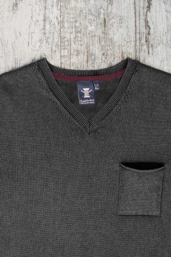 A19MM035   0001 SWEATER V-NECK MODAL - 60%CO 40%MD Anthracite