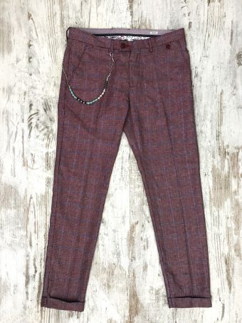 S20P019    0083 CHINOS CHECK - 50% CO 35%PL 15%VI Bordeaux