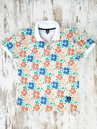 S20PS004   0050 POLO BIG FLOWER - 95%CO 5%EL JERSEY Optical White