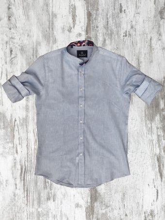 S20S027K   0045 SHIRT LINO (KOREAN COLLAR) - 100% LINEN Light Blue - Storm Blue