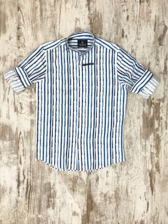 S20S029K   0045 SHIRT DENVER (KOREAN COLLAR) - CO/LI Light Blue - Storm Blue