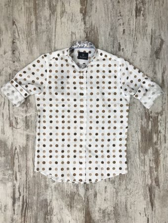 S20S030K   0040 SHIRT CHICAGO (KOREAN COLLAR) - CO/LI Brown