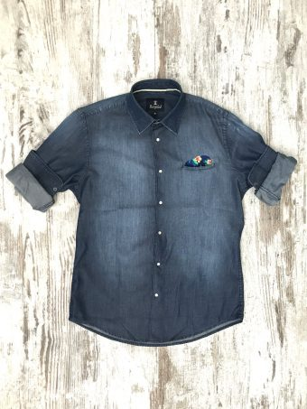 S20S050    0002 SHIRT DENIM - 100% CO Dark Blue