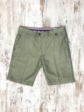 S20SH019   0101 CHINO SHORTS CHECK - 50%CO 35%PL 15%VI Green Cactus