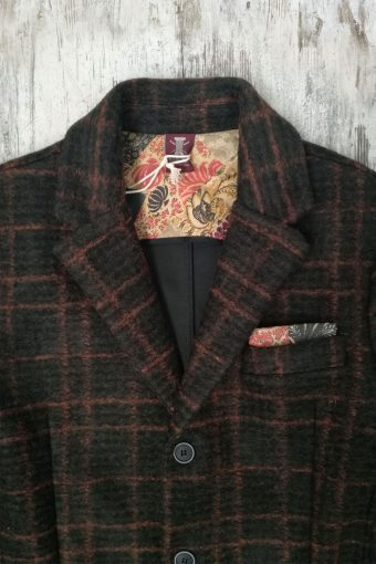 A19MJ037   5780 OVERCOAT CHECK - 20%WO 40%AC 40%PL Dark Green - Orange