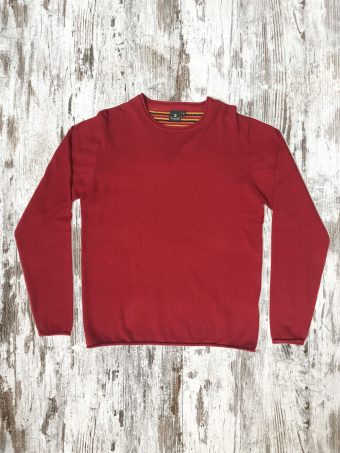 A20M001R   0094 SWEATER RAW CUT ROUND NECK - 95%CO 5%CASHMERE Chili Pepper Red