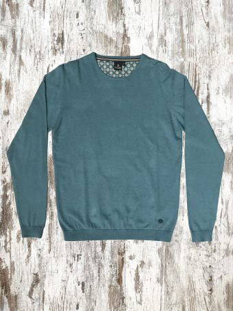 A20M001    0085 SWEATER BASIC ROUND NECK - 95%CO 5%CASHMERE Smoke Blue