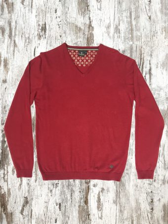 A20M002    0094 SWEATER BASIC V-NECK - 95%CO 5%CASHMERE Chili Pepper Red