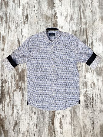 A20S003    5028 SHIRT LIMERICK - 100%CO Optical White - Blue