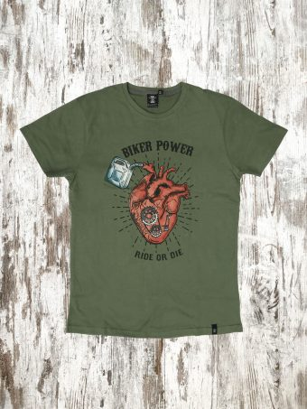 A20T008    0071 T-SHIRT HEART - 100% JERSEY CO 30/1 PEACHED OUTSIDE Military Green