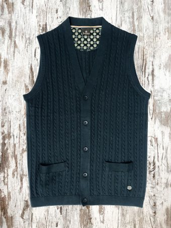 A20M004    0002 SWEATER BASIC GILET - 95%CO 5%CASHMERE Dark Blue