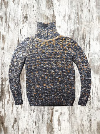 A20M039    0210 SWEATER TURTLENECK MELANGE - 100%CO Dark Blue - Yellow