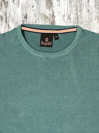 S21M001    0005 SWEATER ROUND NECK - 100%CO ACID WASH Surf Blue