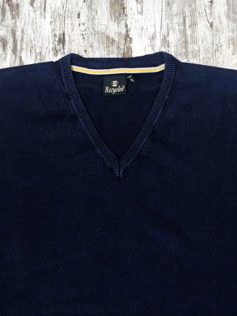 S21M002    0002 SWEATER V-NECK - 100%CO ACID WASH Dark Blue