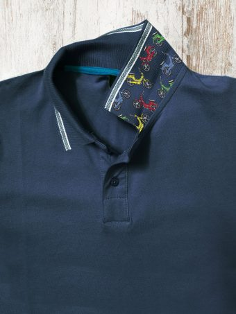 S21PS011   0002 POLO JAQUARD - 95%CO 5%EL PIQUET Dark Blue