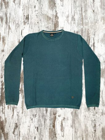 S21M005    0011 SWEATER BARK - 100%CO ACID WASH Green Petroleum