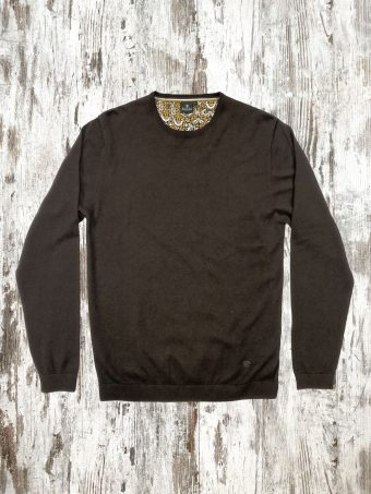 A21M001    0040 SWEATER BASIC ROUND NECK - 80%CO - 20%WO Coffee Brown