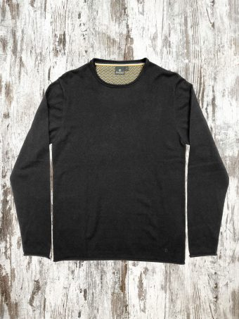 A21M001R   0090 SWEATER RAW CUR ROUND NECK - 80%CO - 20%WO Black