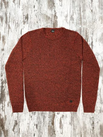 A21M031    0094 SWEATER CREW MELANGE - 85%AC- 15%NY Red Scarlett