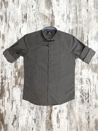 A21S007X   0001 SHIRT JAMES (WITHOUT SIDE BANDS) - 100%CO Anthracite