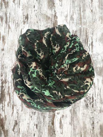 A21SC003   0071 SCARF THOMAS (PRINTED) - 100%WO Military Green