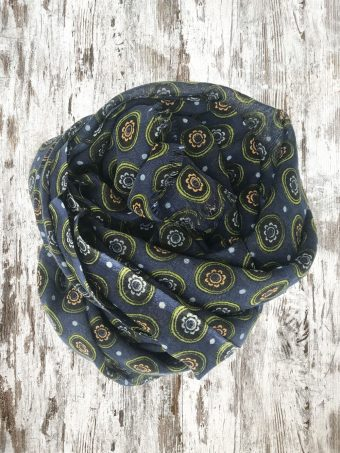 A21SC004   0064 SCARF VICTOR (PRINTED) - 100%WO Blue Navy