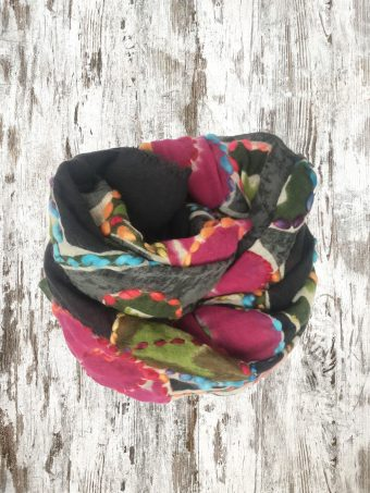 A21SC007   0090 SCARF MIKE (EMBROIDERED) - 100%WO Black