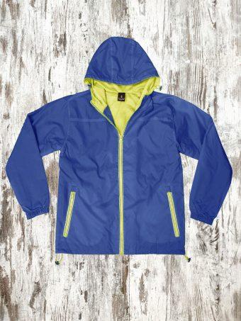 S21J002    0227 RAIN JACKET BASIC WITH MESH - 100%PL+MESH Dark Blue - Yellow Neon
